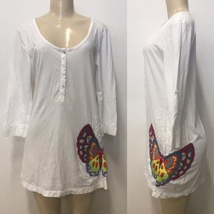 Johnny Was  Butterfly embroidered tunic blouse